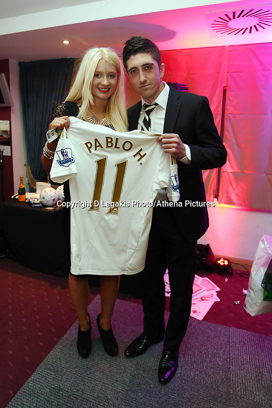 Pictured: Wednesday 10 April 2013<br /> Re: Swansea footballer Angel Rangel and wife Nicky's cancer charity fundraising dinner at the Liberty Stadium.<br /> Pablo Hernandez