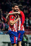 Diego Costa of Atletico de Madrid celebrates with teammate Angel Correa during the UEFA Europa League 2017-18 Round of 16 (1st leg) match between Atletico de Madrid and FC Lokomotiv Moscow at Wanda Metropolitano  on March 08 2018 in Madrid, Spain. Photo by Diego Souto / Power Sport Images
