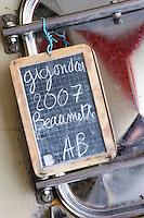 tank door sign on tank organic gigondas 2007 beaumette domaine montirius vacqueyras rhone france