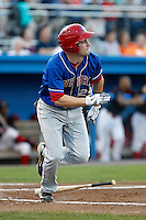 Auburn Doubledays outfielder Caleb Ramsey #29 during a game against the Batavia Muckdogs at Dwyer Stadium on September 3, 2011 in Batavia, New York.  Auburn defeated Batavia 2-1.  (Mike Janes/Four Seam Images)