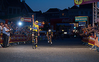 Chris Froome (GBR/SKY) wins at the finish line<br /> <br /> Post-Tour Criterium Mechelen 2015
