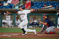 Mahoning Valley Scrappers Bryan Lavastida (1) bats during a NY-Penn League game against the State College Spikes on August 29, 2019 at Eastwood Field in Niles, Ohio.  State College defeated Mahoning Valley 8-1.  (Mike Janes/Four Seam Images)