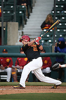 Mason Perryman #21 of the Southern California Trojans bats against the Coppin State Eagles at Dedeaux Field on February 18, 2017 in Los Angeles, California. Southern California defeated Coppin State, 22-2. (Larry Goren/Four Seam Images)