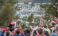 Reto Hollenstein (SUI/Katusha-Alpecin) finishing on top of Mount Fløyen<br /> <br /> Men Elite Individual Time Trial<br /> <br /> UCI 2017 Road World Championships - Bergen/Norway