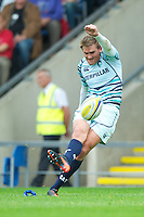 Toby Flood of Leicester Tigers takes a penalty kick during the Aviva Premiership match between London Welsh and Leicester Tigers at the Kassam Stadium on Sunday 2nd September 2012 (Photo by Rob Munro)