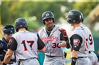 Julio Rodriguez (30) belts a grand slam for the Travelers against the Naturals at Arvest Ballpark, Springdale, Arkansas, Wednesday, July 14, 2021 / Special to NWA Democrat-Gazette/ David Beach