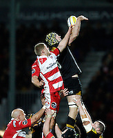 Photo: Richard Lane/Richard Lane Photography. Gloucester Rugby v London Wasps. Aviva Premiership. 02/11/2013 Wasps' Kearnan Myall is challenged by Gloucester's James Hudson at a lineout.