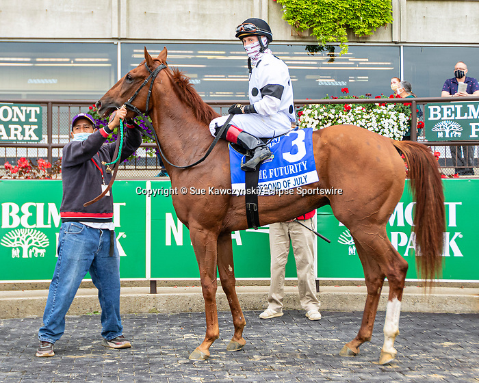 """OCT11, 2020 : Second of July with Dylan Davis aboard, pulls the upset to win the """"Win & You're In""""  Grade 3 Futruity Stakes, for 2-year olds on the turf, at Belmont Park, Elmont, NY.  Sue Kawczynski/Eclipse Sportswire/CSM"""