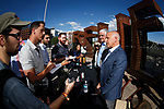 Reno Mayor Hillary Schieve, Democratic governor candidate Steve Sisolak and Raiders president Marc Badain, answer questions following a press conference in Reno, Nev., on Thursday, Aug. 16, 2018. The Raiders are considering several potential training camp locations in Reno. (Cathleen Allison/Las Vegas Review-Journal)