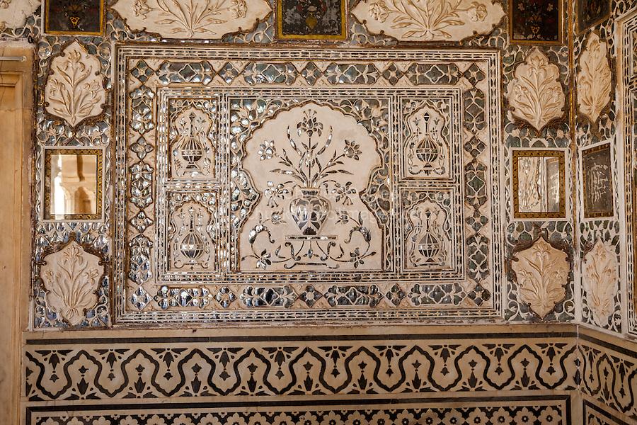Jaipur, Rajasthan, India.  Representation of a Floral Vase in the Sheesh Mahal, or Hall of Mirrors, Amber (or Amer) Palace, near Jaipur.