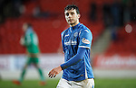 St Johnstone v Aberdeen...06.02.16   SPFL   McDiarmid Park, Perth<br /> A gutted Joe Shaughnessy leaves the pitch at full time<br /> Picture by Graeme Hart.<br /> Copyright Perthshire Picture Agency<br /> Tel: 01738 623350  Mobile: 07990 594431