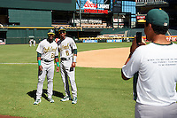 Oakland Athletics Lazaro Armenteros (23) and George Bell (6) have their photo taken before an Instructional League game against the Arizona Diamondbacks on October 15, 2016 at Chase Field in Phoenix, Arizona.  (Mike Janes/Four Seam Images)
