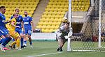 16.08.2020 Livingston v Rangers: Livingston goalkeeper Maksymilian Stryjek palms away a free kick from Borna Barisic