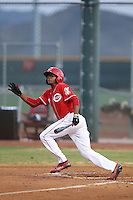 Satchel McElroy (3) of the AZL Reds bats during a game against the AZL Brewers at Cincinnati Reds Spring Training Complex on July 5, 2015 in Goodyear, Arizona. Reds defeated the Brewers, 9-4. (Larry Goren/Four Seam Images)