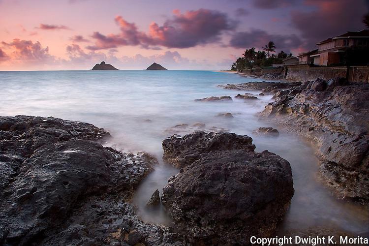 "View of Lanikai beach and Mokulua Islands from Lanikai Point at sunrise. This photo won Hawaii Magazine's 2007 ""Aina"" category award."
