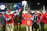 March 27 2021: MYSTIC GUIDE #10, ridden by jockey Luis Saez wins the Dubai World Cup for trainer Mike Stidham at Meydan Racecourse, Dubai, UAE. Shamela Hanley/Eclipse Sportswire/CSM