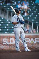 Peoria Javelinas catcher Ronaldo Hernandez (10), of the Tampa Bay Rays organization, on deck during an Arizona Fall League game against the Mesa Solar Sox at Sloan Park on November 6, 2018 in Mesa, Arizona. Mesa defeated Peoria 7-5 . (Zachary Lucy/Four Seam Images)