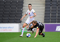 Lincoln City's Harry Anderson is fouled by Milton Keynes Dons' Jay Bird<br /> <br /> Photographer Chris Vaughan/CameraSport<br /> <br /> The EFL Sky Bet League One - Milton Keynes Dons v Lincoln City - Saturday 19th September 2020 - Stadium MK - Milton Keynes<br /> <br /> World Copyright © 2020 CameraSport. All rights reserved. 43 Linden Ave. Countesthorpe. Leicester. England. LE8 5PG - Tel: +44 (0) 116 277 4147 - admin@camerasport.com - www.camerasport.com
