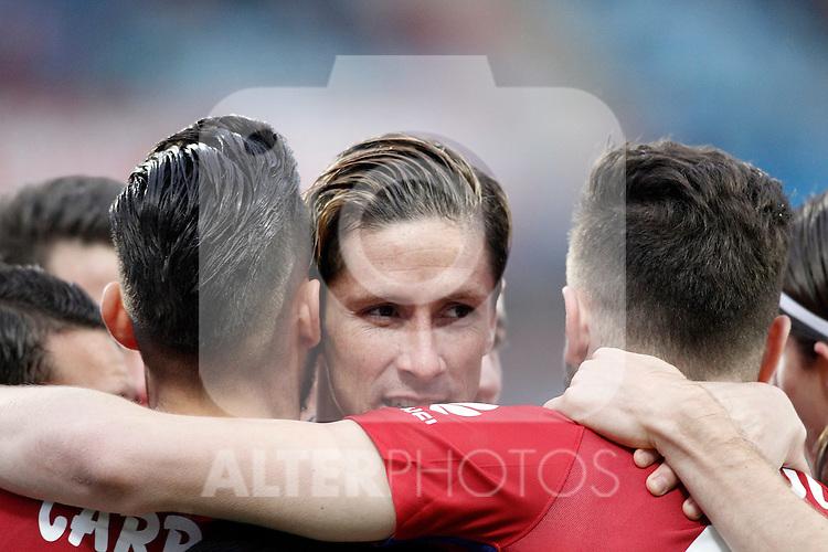 Atletico de Madrid's Fernando Torres celebrates goal with his partners during La Liga match. February 14,2016. (ALTERPHOTOS/Acero)