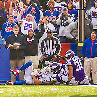 19 October 2014: Buffalo Bills wide receiver Chris Hogan pulls in a reception a yard short of the goal line on the game-winning drive of the fourth quarter against the Minnesota Vikings at Ralph Wilson Stadium in Orchard Park, NY. The Bills defeated the Vikings 17-16 in a dramatic, last minute, comeback touchdown drive. Mandatory Credit: Ed Wolfstein Photo *** RAW (NEF) Image File Available ***
