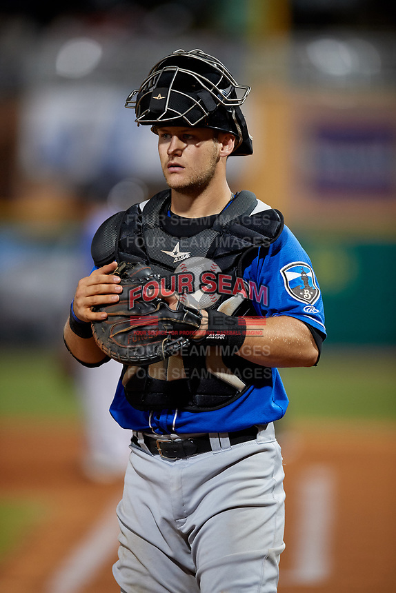 Biloxi Shuckers catcher Max McDowell (4) during a Southern League game against the Pensacola Blue Wahoos on May 3, 2019 at Admiral Fetterman Field in Pensacola, Florida.  Pensacola defeated Biloxi 10-8.  (Mike Janes/Four Seam Images)