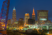 The skyline of Cleveland, Ohio at twilight as viewed over the Cuyahoga River from the Flats.