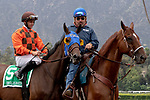 ARCADIA, CA  JUNE 16: #5 Chocolate Martini, ridden by Flavien Prat, in the post parade of the Summertime Oaks (Grade ll) on June 16, 2018 at Santa Anita Park in Arcadia, CA. (Photo by Casey Phillips/Eclipse Sportswire/Getty Images)