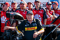 Sep 2, 2019; Clermont, IN, USA; NHRA top fuel team owner Connie Kalitta celebrate after winning the US Nationals at Lucas Oil Raceway. Mandatory Credit: Mark J. Rebilas-USA TODAY Sports