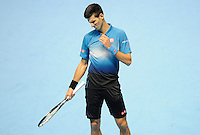 Novak Djokovic (SRB) in action against Kei Nishikori (JPN) during Day One of the Barclays ATP World Tour Finals 2015 played at The O2, London on November 15th 2015