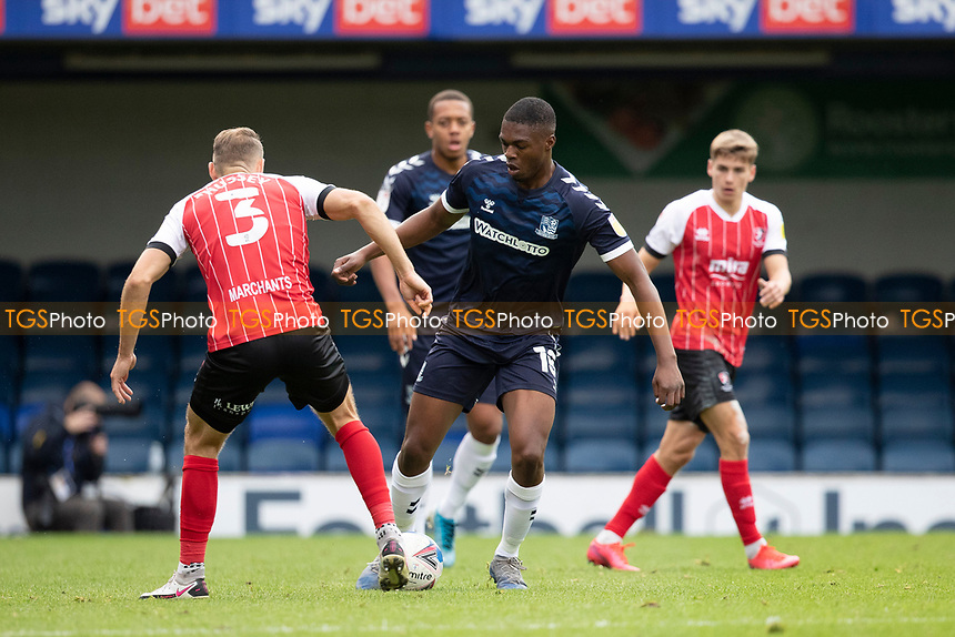 Chris Hussey, Cheltenham Town blocks off the forward movement for Emile Acquah, Southend United during Southend United vs Cheltenham Town, Sky Bet EFL League 2 Football at Roots Hall on 17th October 2020