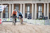 Wout van Aert (BEL/Jumbo-Visma) & Mathieu Van der Poel (NED/Alpecin-Fenix) envolved in close combat<br /> <br /> UCI 2021 Cyclocross World Championships - Ostend, Belgium<br /> <br /> Elite Men's Race<br /> <br /> ©kramon