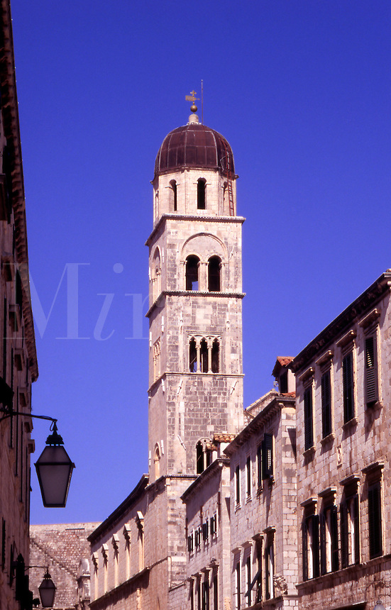 Croatia. Dubrovnik Old City. The Stradun and Franciscan Monastery