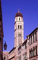 Croatia. Dubrovnik Old City. The Stradun and Franciscan Monastery
