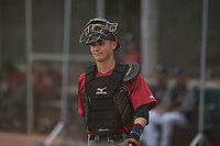 Arizona Diamondbacks catcher Andy Yerzy (27) during an Extended Spring Training game against the Colorado Rockies at Salt River Fields at Talking Stick on April 16, 2018 in Scottsdale, Arizona. (Zachary Lucy/Four Seam Images)