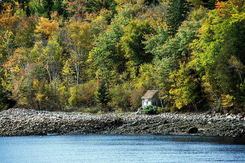 Isolated coastal shack, Maine, USA