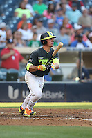 Ben Rortvedt (14) of the West team bats during the 2015 Perfect Game All-American Classic at Petco Park on August 16, 2015 in San Diego, California. The East squad defeated the West, 3-1. (Larry Goren/Four Seam Images)