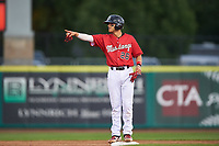 Billings Mustangs Victor Ruiz (26) points toward the bullpen after hitting a double during a Pioneer League game against the Grand Junction Rockies at Dehler Park on August 14, 2019 in Billings, Montana. Grand Junction defeated Billings 8-5. (Zachary Lucy/Four Seam Images)