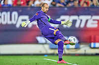 5th September 2021; Nashville, TN, USA;  Canada goalkeeper Milan borjan (18) kicks the ball long during a CONCACAF World Cup qualifying match between the United States and Canada on September 5, 2021 at Nissan Stadium in Nashville, TN.