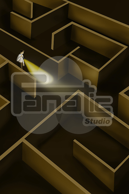 Illustrative image of businessman searching way in maze