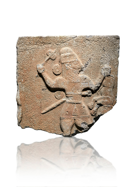 Hittite monumental relief sculpture of a man with an axe in one hand about to use it to kill a lion he is holding updide down in his other hand. Late Hittite Period - 900-700 BC. Adana Archaeology Museum, Turkey. Against a white background