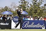 JEJU, SOUTH KOREA - APRIL 25:  Brett Rumford of Australia tees off on the 7th hole during the Round Three of the Ballantine's Championship at Pinx Golf Club on April 25, 2010 in Jeju, South Korea. Photo by Victor Fraile / The Power of Sport Images
