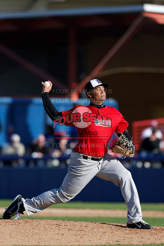 Deandre Simpson of The Rock Academy in San Diego, California participates in the Southern California scouts game for high school seniors at the Urban Youth Academy on February 9, 2013 in Compton, California. (Larry Goren/Four Seam Images)