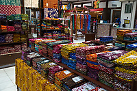Yogyakarta, Java, Indonesia.  Batik Sales Room, Raradjonggrang Batik Factory.  Fabric for Sale.