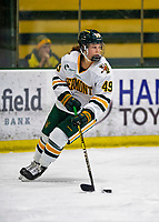 2 February 2020: University of Vermont Catamount Defender Sara Levesque, a Freshman from Chicoutimi, Québec, in first period action against the Holy Cross Crusaders at Gutterson Fieldhouse in Burlington, Vermont. The Lady Cats rallied in the 3rd period to tie the Crusaders 2-2 in NCAA Women's Hockey East play. Mandatory Credit: Ed Wolfstein Photo *** RAW (NEF) Image File Available ***
