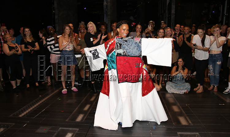 """Bahiyah Hibah during the Broadway Opening Night Legacy Robe Ceremony honoring Bahiyah Hibah for  """"Moulin Rouge! The Musical"""" at the Al Hirschfeld Theatre on July 25,2019 in New York City."""