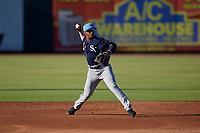 Charlotte Stone Crabs shortstop Wander Franco (1) throws to first base during a Florida State League game against the Bradenton Marauders on July 30, 2019 at LECOM Park in Bradenton, Florida.  Charlotte defeated Bradenton 5-0.  (Mike Janes/Four Seam Images)