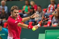 Switserland, Genève, September 18, 2015, Tennis,   Davis Cup, Switserland-Netherlands, Stan Wawrinka (SUI)<br /> Photo: Tennisimages/Henk Koster