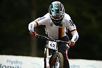 29th August 2021; Commezzadura, Trentino, Italy; 2021 Mountain Bike Cycling World Championships, Val di Sole; Downhill; Downhill final men, Hannes Lehmann (GER)