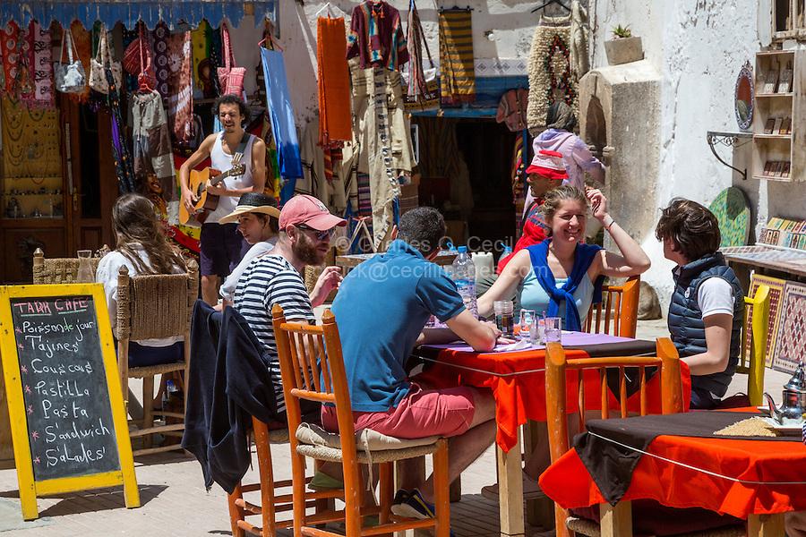 Essaouira, Morocco.  Taha Square, Cafe, and Patrons.