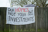 House occupied by housing campaigners on the Sweets Way estate in Whetstone, Barnet, London.  Many estate former residents have been placed in emergency accommodation outside the borough in advance of proposed demolition and redevelopment by Annington, a subsidiary of private equity investors Terra Firma.